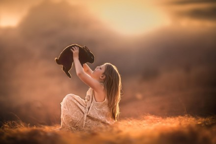cute-girl-black-rabbit-friends-fields-beauty-sunset-photo-hd-wallpaper